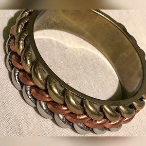 Jewelry - Braided Tritone Bangle - Brass Copper Silver