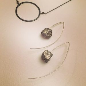 Veronica & Harold Jewelry - Dramatic Sterling silver rough pyrite earrings