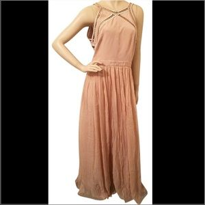 Rebecca Taylor Silk Pink Bead Embellished Gown