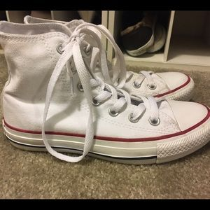 Converse Shoes - Womens White Hightop Converse! Size 5 Like new b17e484df