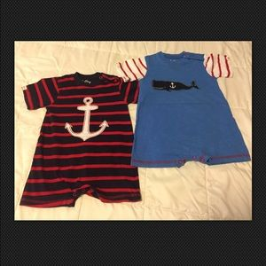 Hatley Other - Hatley 2 Boy Rompers Size 6-12 Months