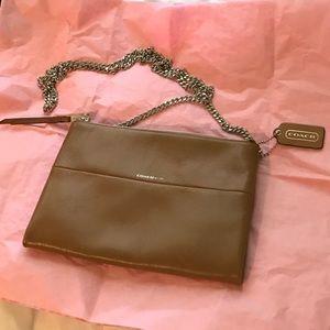 COACH zip top tan leather crossbody