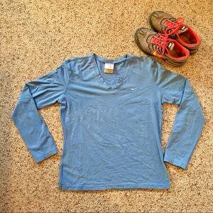 Nike Blue V neck Long Sleeve Shirt