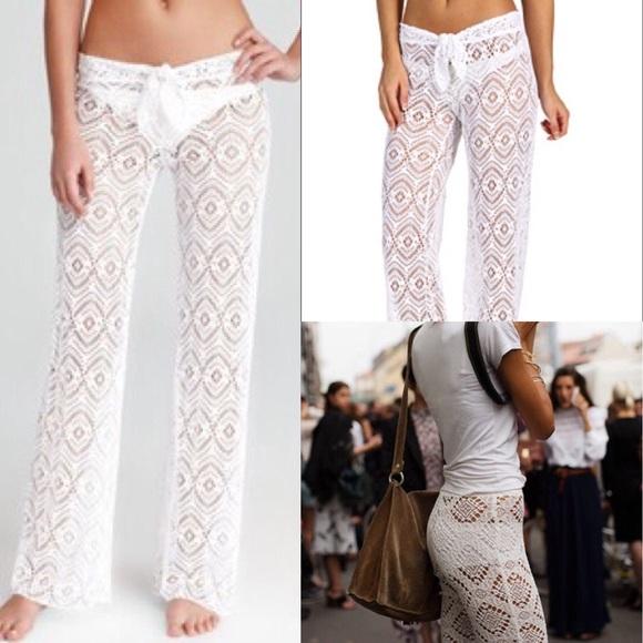 a18f27e2b1 BECCA Other - BECCA Beach Cover-up Crochet White Pants Boho