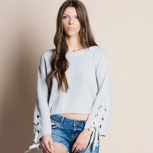 NBF ❤️ Lace Up Sleeves Sweater Top