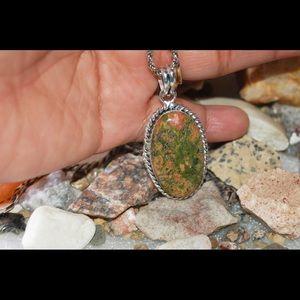 "handmade & handcrafted gemstone jewelry Jewelry - Oval Natural Unakite Pendant 2"""
