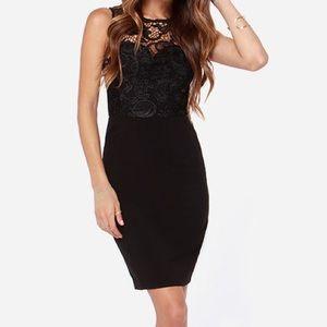 Lulu's Dresses & Skirts - Lulu's Black Midi dress w/ lace