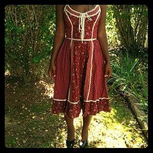 Gunne Sax Bohemian vintage 70s dress