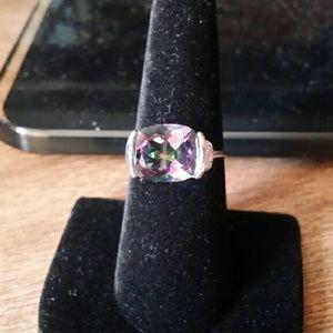 Glamour & Co. Jewelry - Rainbow Mystic & Diamond Woman's Ring