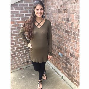 Olive Criss-Cross Top/Tunic