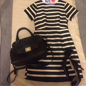 Size 4 H&M black stripe and off white dress