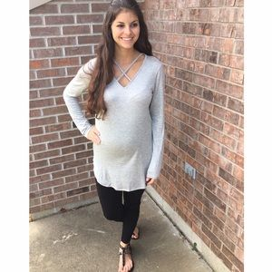 Gray Criss-Cross Top/Tunic