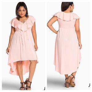 Ruffle lace up high low dress