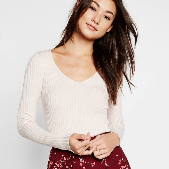 80% off Express Sweaters - NWT Express Wide Ribbed V-Neck Sweater ...