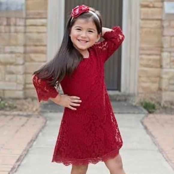 9ad582dcb Dresses | Crimson Red Lace Dress Plus Headband Christmas | Poshmark