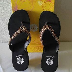 Shoes - Yellow box flip flop brown
