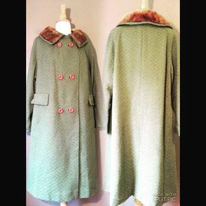 Vintage green mid century coat