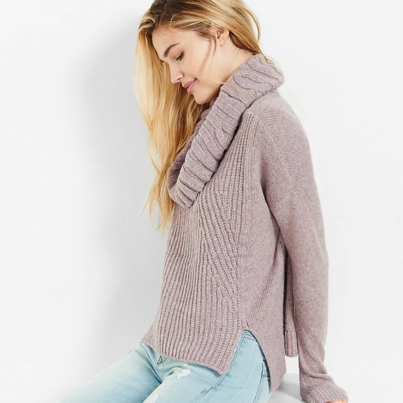 64% off Express Sweaters - NWT Express Mixed Knit Cowl Neck Boxy ...