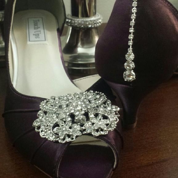 Shoes   Eggplant Bling Peeptoe Rhinestone Wedding   Poshmark
