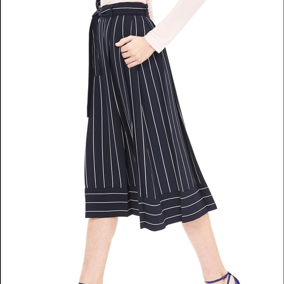Banana Republic - BR. Navy Pinstripe A-line Midi Skirt from ...