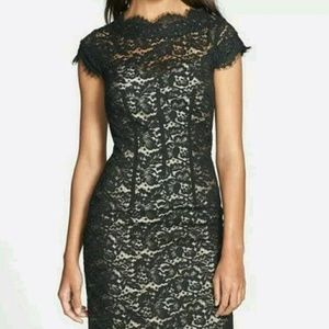 Monique Lhuillier Dresses & Skirts - NWT Monique Lhuillier Lace Cap Sleeve Dress, Black