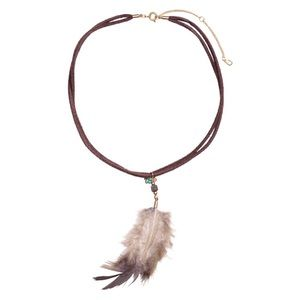 H&M Brown Faux Suede Choker With Feather