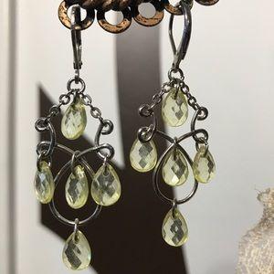 Yellow Teardrop Chandelier Earrings