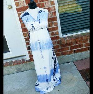 SALE Tie Dye Blue White Halter Maxi Dress