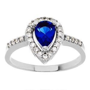 Jewelry - .925 Sterling Silver Blue CZ Pear Shaped Halo Ring