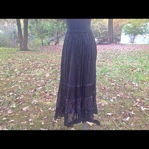 Maxi Black Lace Skirt with Tags