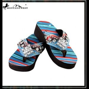 Montana West Shoes - Montana West Serape Edge Flip Flops Turquoise sz 7
