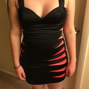 Black and red bodycon dress