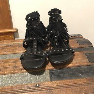 Shop Hope's black fringe sandal