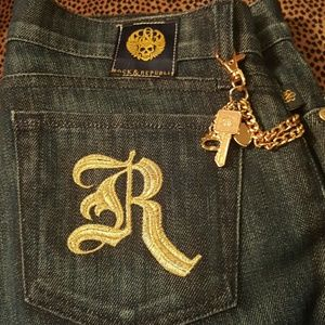 Rock and republic hot blue jeans with gold chain
