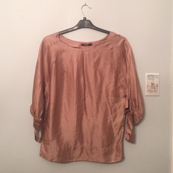 3ed177249622f9 Rose Gold Dolman Sleeved Reiss Silk Top Sz.8. M 58095fea6a583009f400a541
