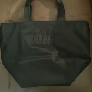 Saks 5th Avenue black poly lined bucket tote