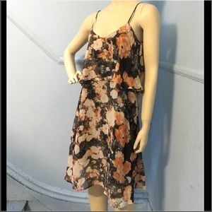 Collective Concepts Floral Grey Layered Dress