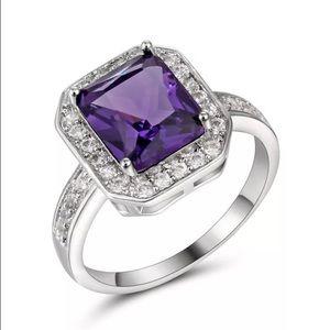 Purple Emerald Cut Halo White Gold Ring