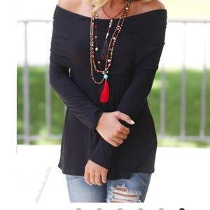 Tops - Off the shoulder black top