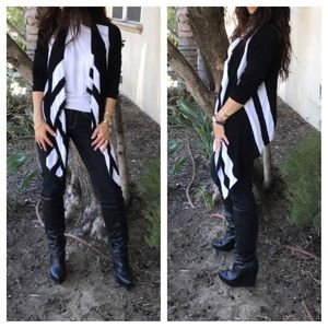 Jackets & Blazers - Black and white open knit cardigan CLEARANCE SALE