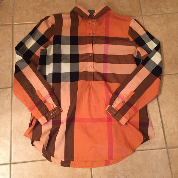 f3c131adae40 Burberry Tops - Burberry Brit Tonal Check Tunic Rust Copper NWOT