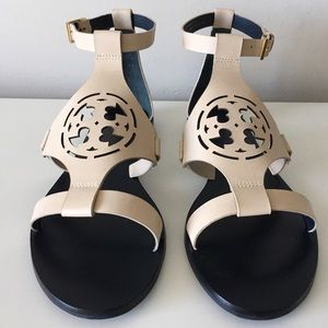 TORY BURCH ZOEY IVORY LASER CUT LOGO FLAT SANDALS