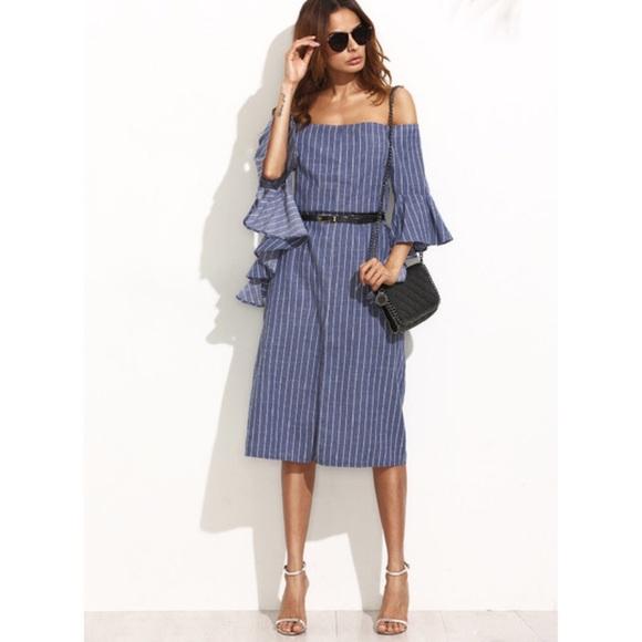 94886639359c Striped Denim Off Shoulder Midi Dress