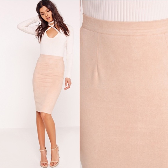 56% off Missguided Dresses & Skirts - Pink Nude Blush Faux Suede ...