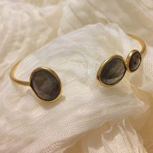 Gemstone Bangle Dark Gray Stones