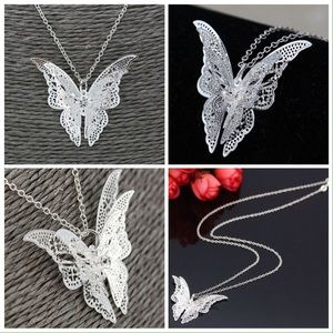 Jewelry - Silver Plated Butterfly Pendant and Chain