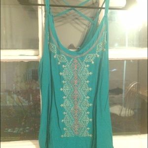 Embroidered tank top - Teal