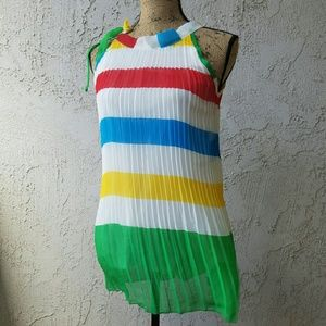 boutique  Tops - 293) Primary colors sleeveless pleated top