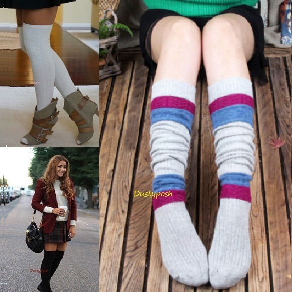 d350aa4fc98c3 HUE Accessories   Rib Over The Knee Socks Thigh High Grey Pink Blue ...