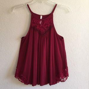Burgundy Dark Red Lace Crochet Halter Tank Top